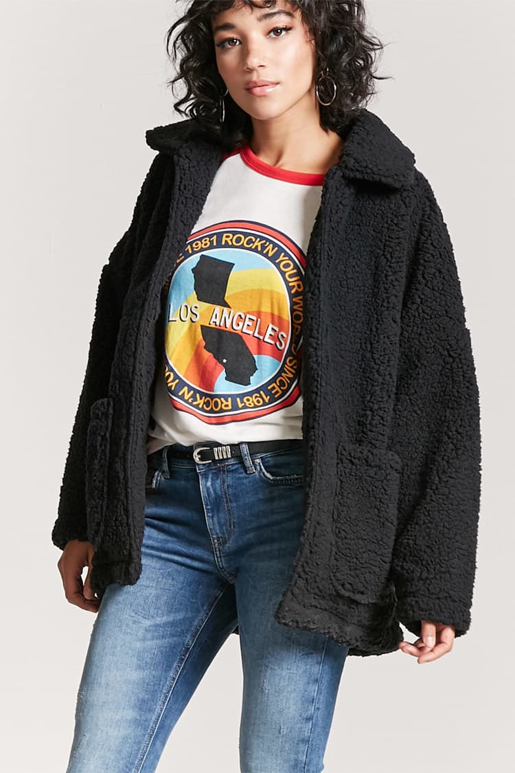 black cozy fuzzy jacket under $50