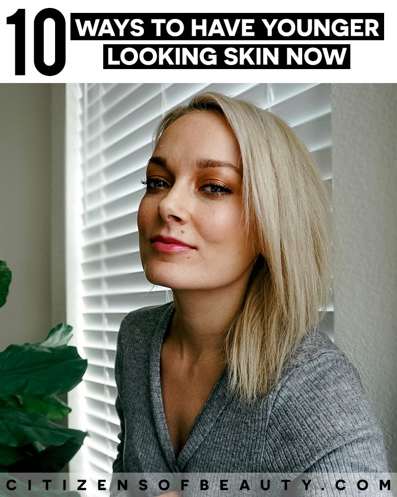 Get younger looking skin with these anti-aging tips for less fine lines, wrinkles, and brown pigmentation with beauty and lifestyle blogger, Kendra Stanton.