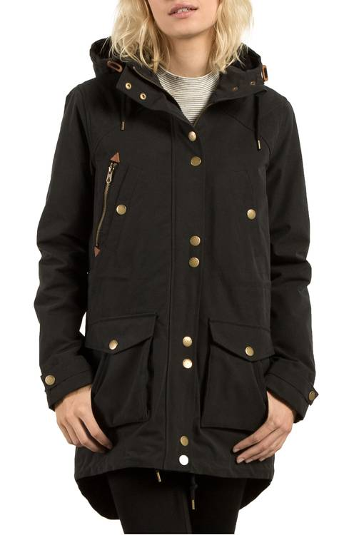 black winter hooded parka coat