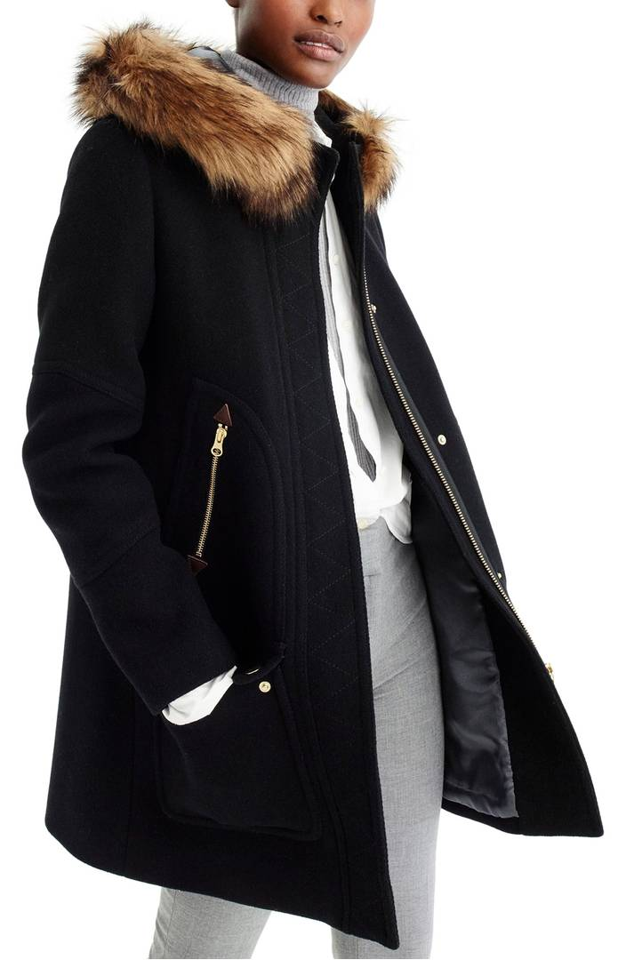 Fur trim black coat