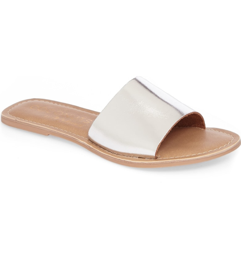 cabanda silver slide sandals for summer
