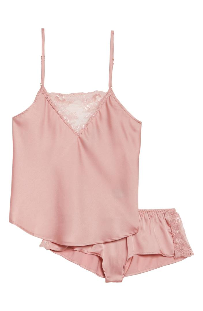 Comfortable pink pajamas that are silky for valentines day