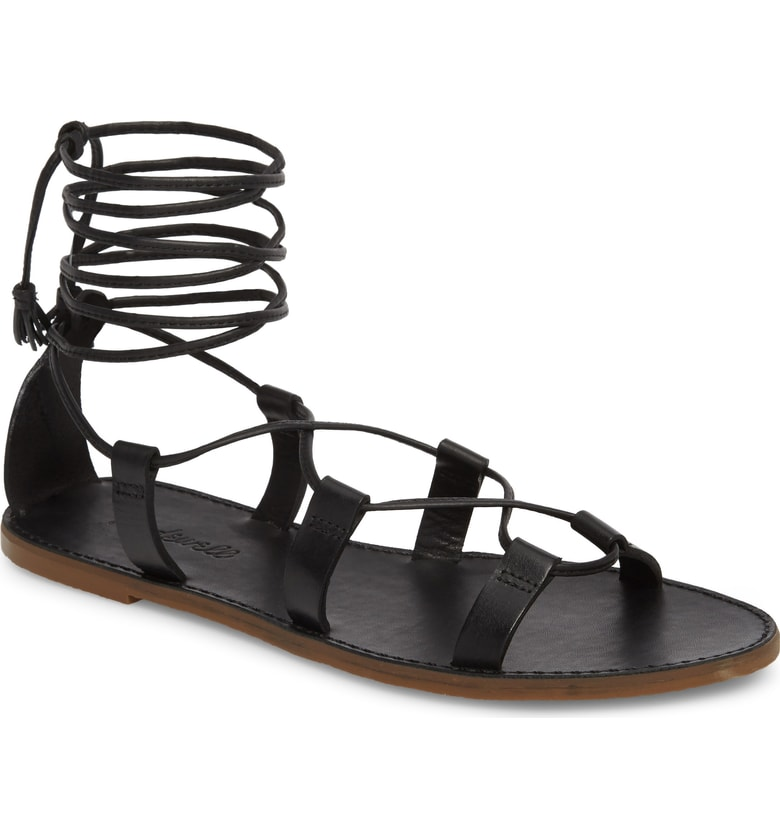 black lace up sandal made well