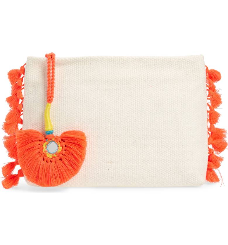 White Woven pouch with Orange embellishments