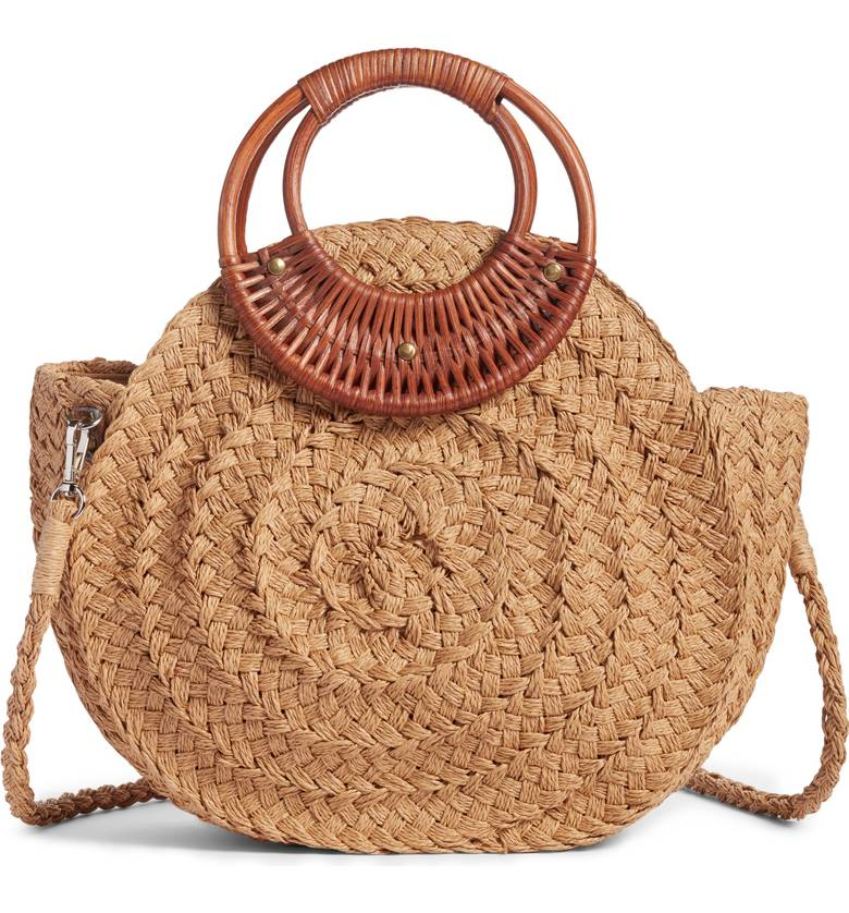 woven straw handbag with wooden handle