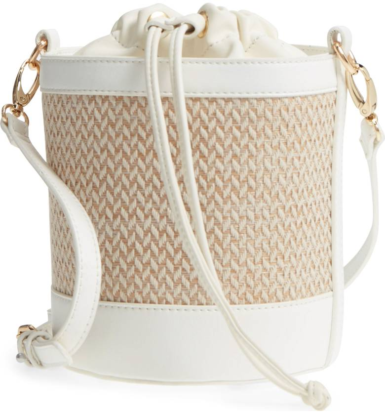 straw bucket bag with white trip and gold detail for summer under $50