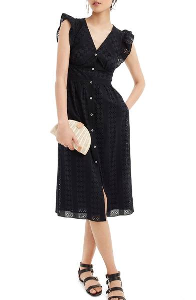 black button up ruffle dress for summer