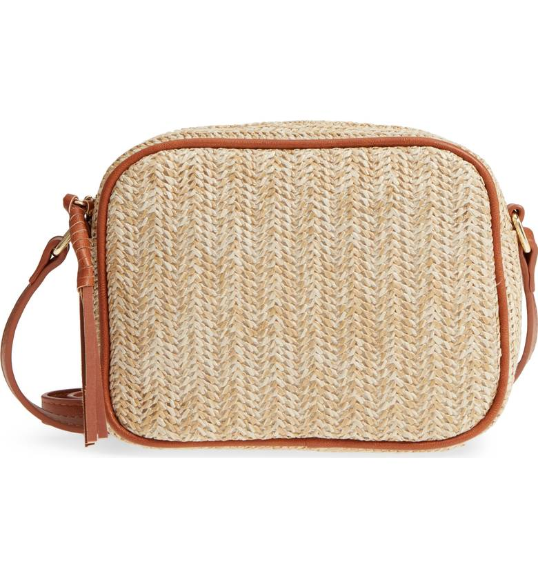 Woven Summer Handbag with Zipper Enclosre