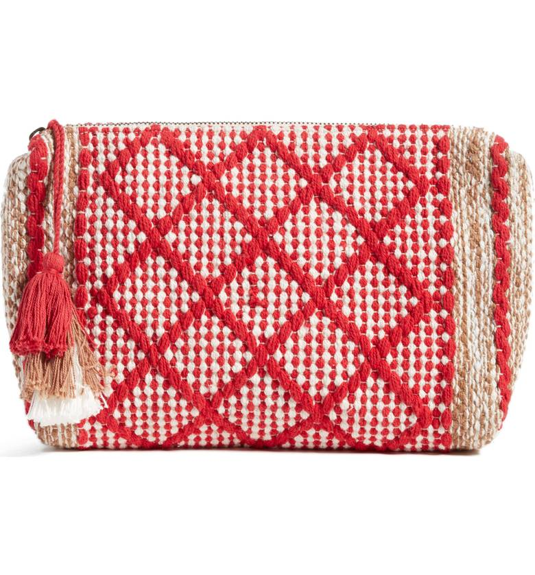 red and white woven clutch for summer under $50