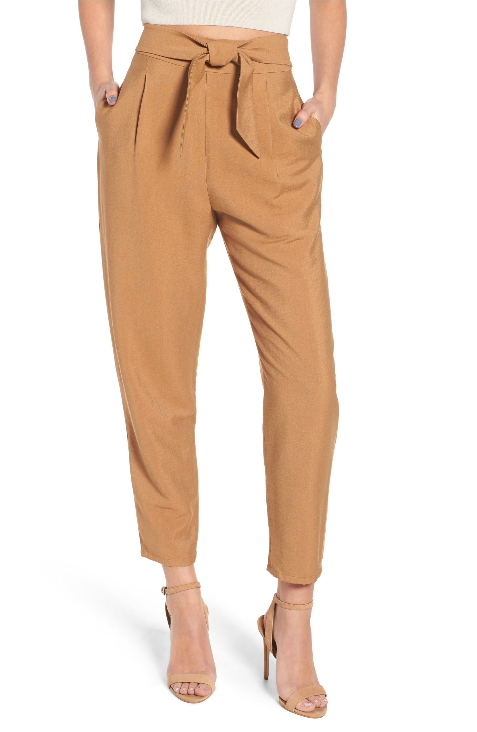 tan tie front trouser under $50 at the Nordsstrom Half yearly sale