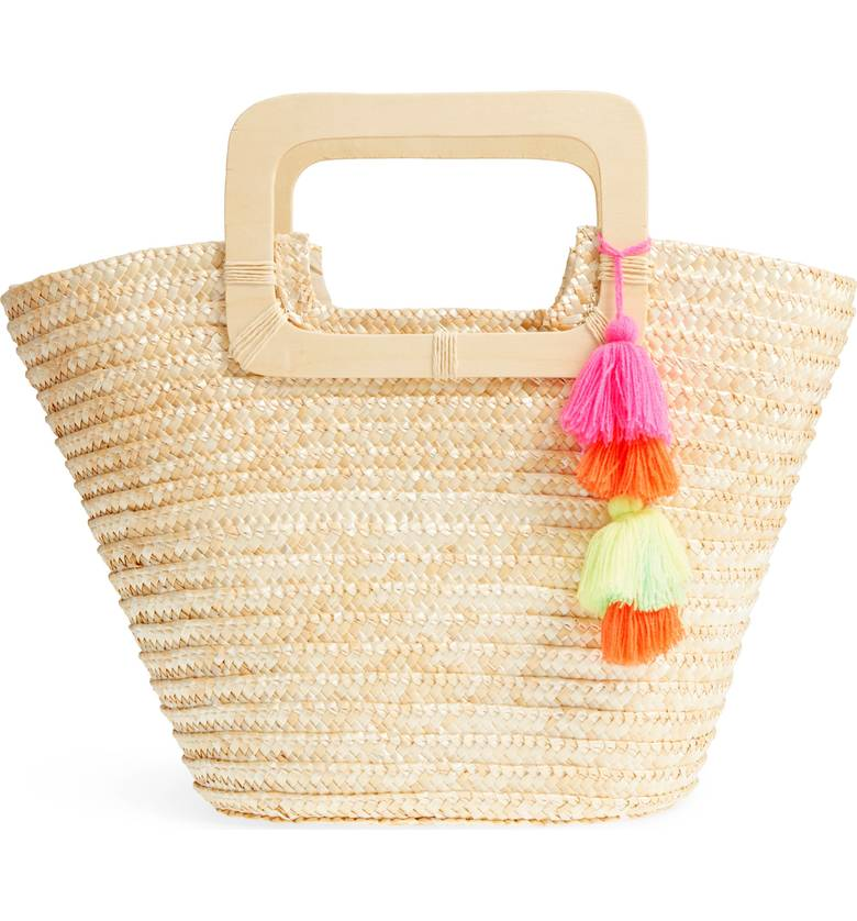 Straw Ring Basket Tote with Pom Poms for Summer under $50