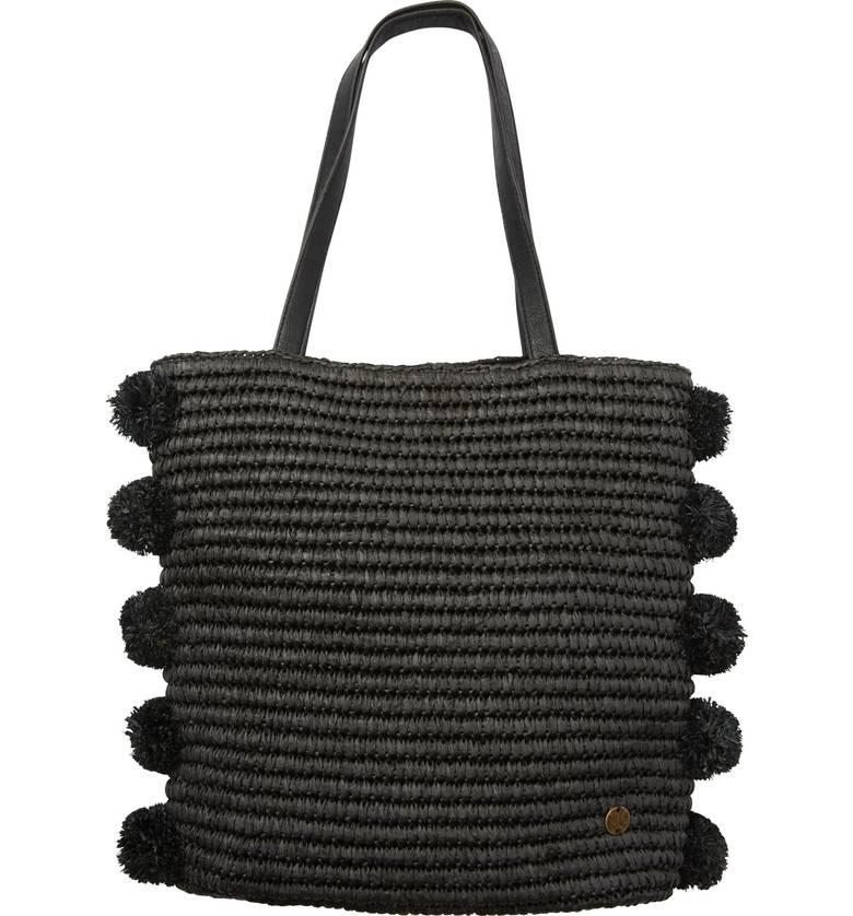 Black Woven Handbag with pom moms