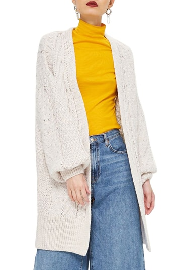 Topshop Cable Knit long cardigan at the Nordstrom Anniversary 2018 Catalog