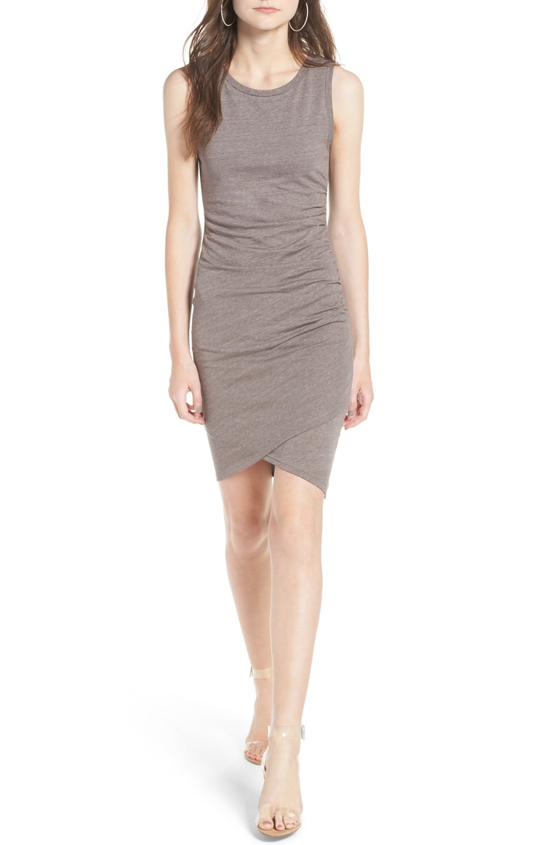 fall ruched body con dress