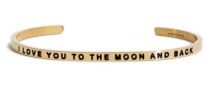 I love you to the moon and back gold cuff for a Valentines Day gift idea.