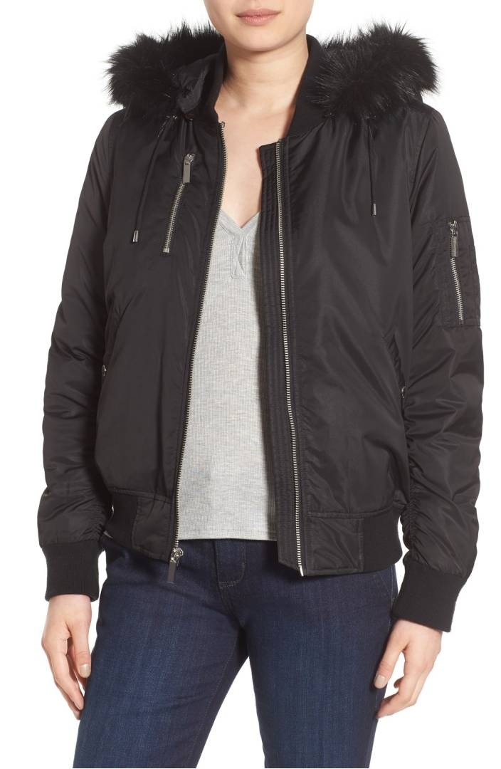 black cozy bomber jacket for winter