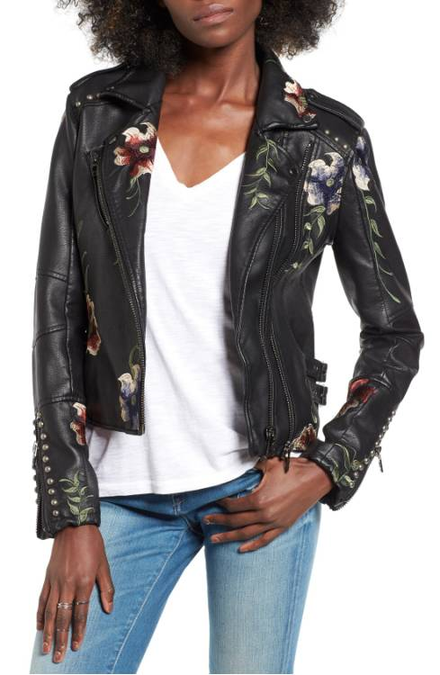 BLANKNYC embroidered faux leather jacket