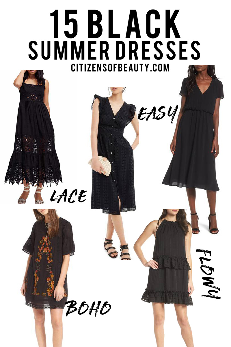 15 black summer dresses like maxi, button up, casual lace, short maxi's and more for summer.