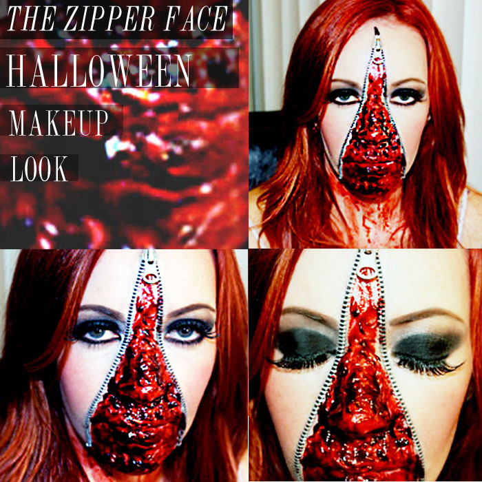 zipper face makeup look halloween