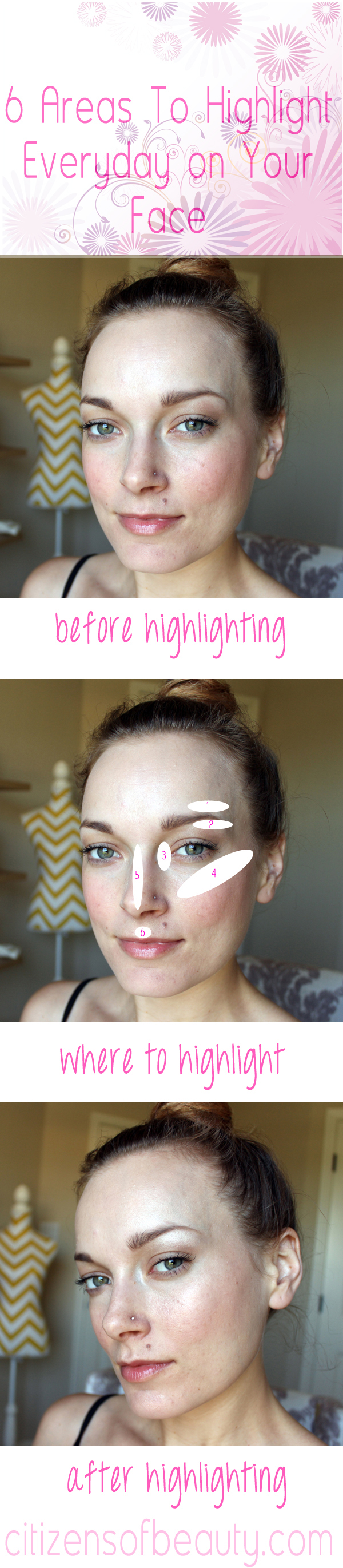 Areas of your face that should be highlighted.