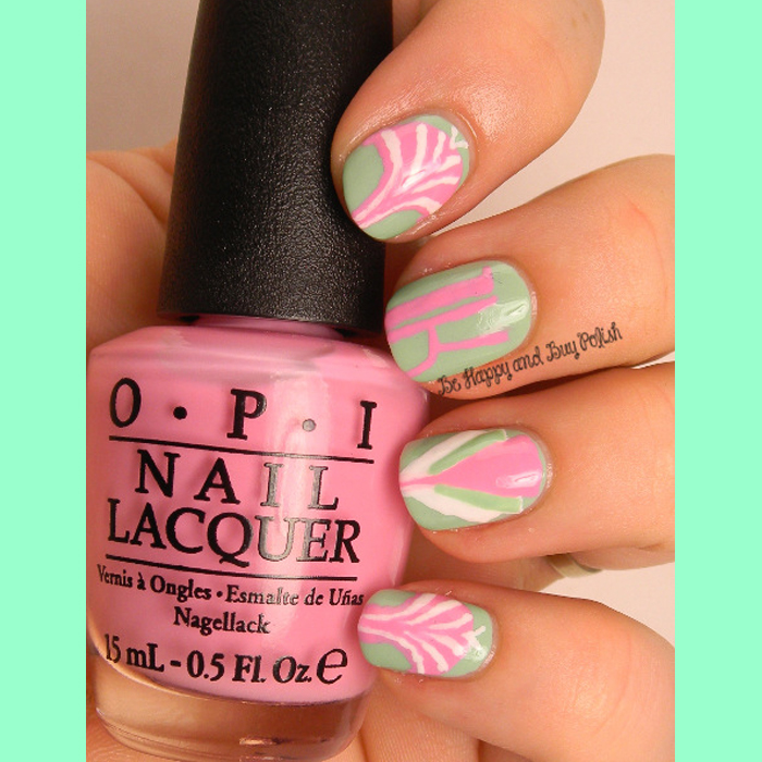 Mint Nail Art: OPI Feel the Moheatoes, Flamingo Tini Pink, Alpine Snow2