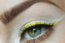 yellow and white eyeshadow design