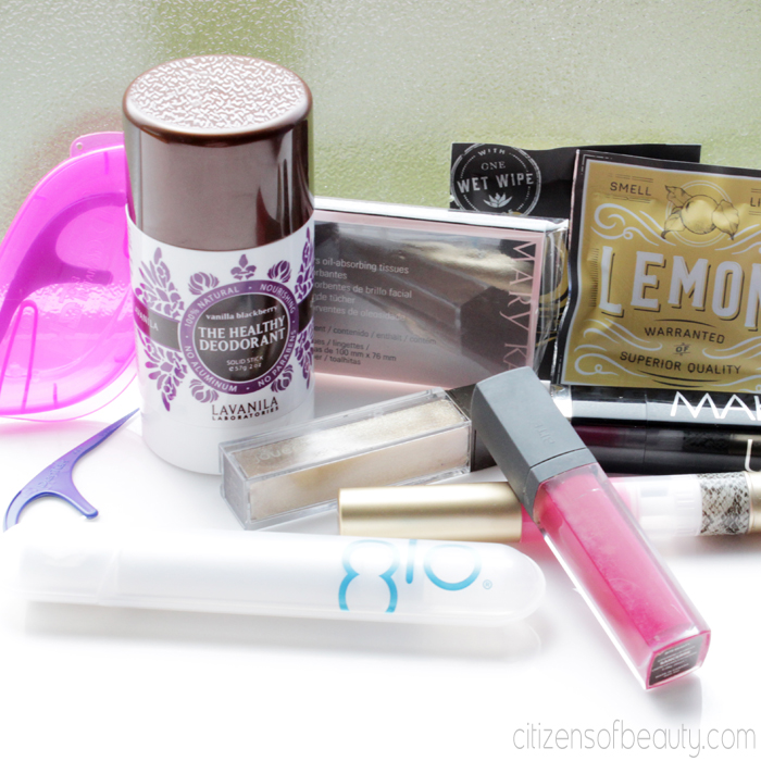 beauty basics that should be kept in your purse. Essentials for the busy women.