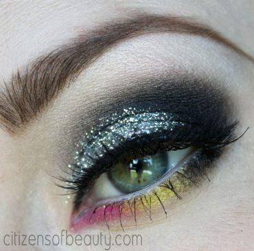 smokey glitter eyes with neon pink and yellow