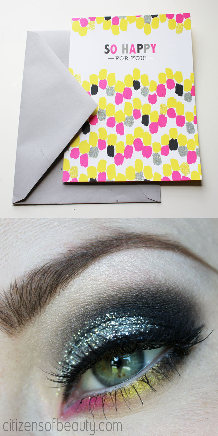neon pink and yellow eyeshadow design