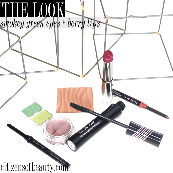 Get this smokey green eyeshadow look paired with berry lips