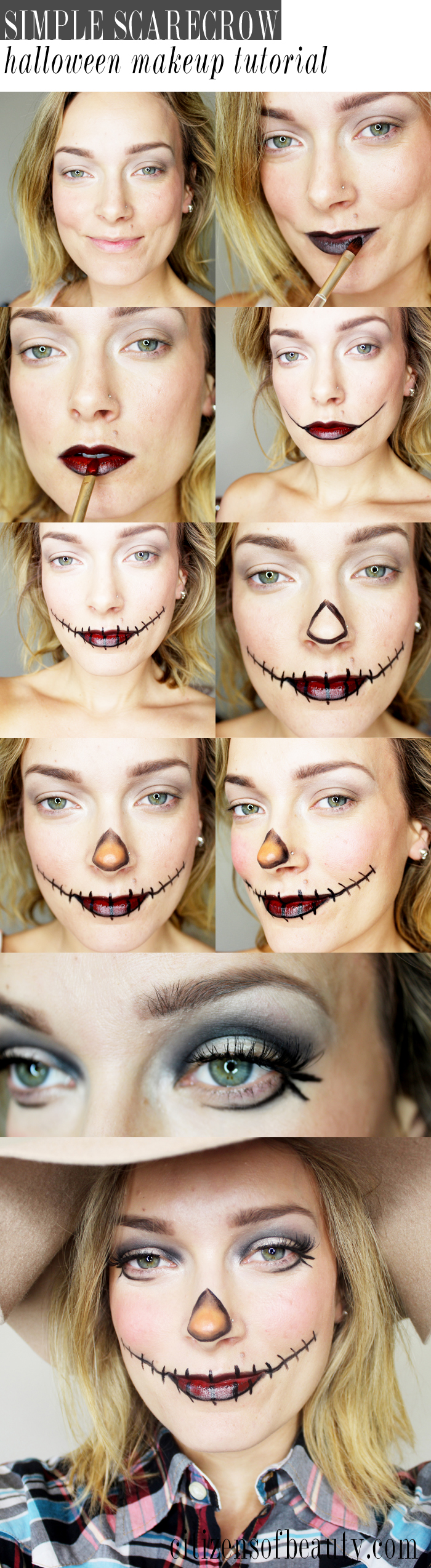 Get this easy scarecrow makeup look for halloween with a simple step-by-step guide with makeup artist and beauty blogger, Kendra Stanton