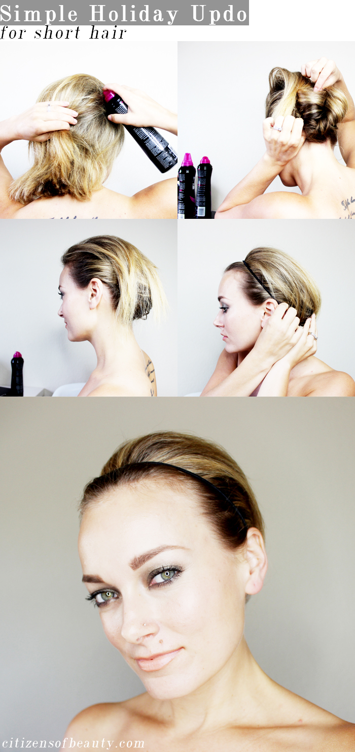easy holiday updo for short hair