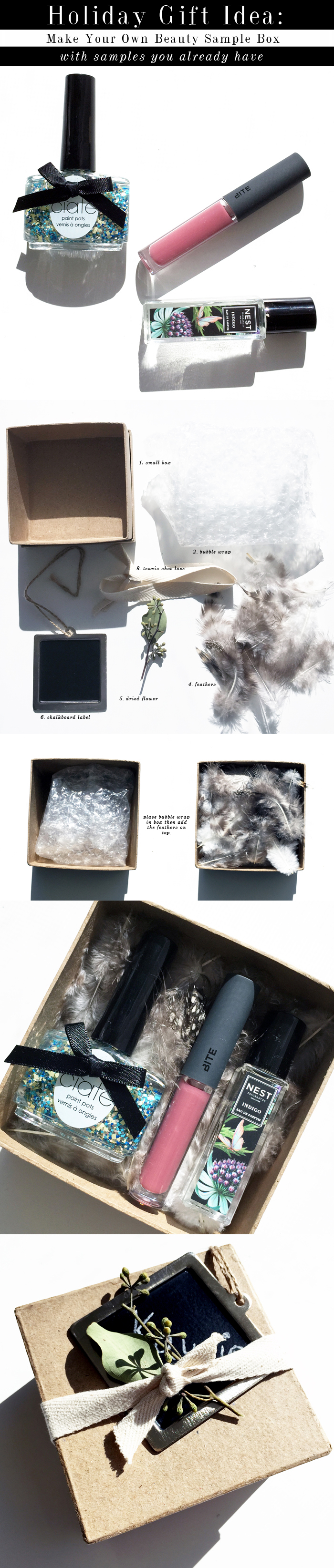 making your own beauty sample box gift
