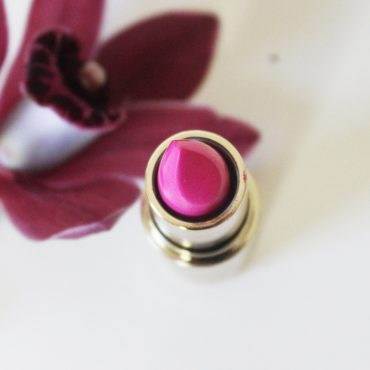 bright pink and long lasting lipstick