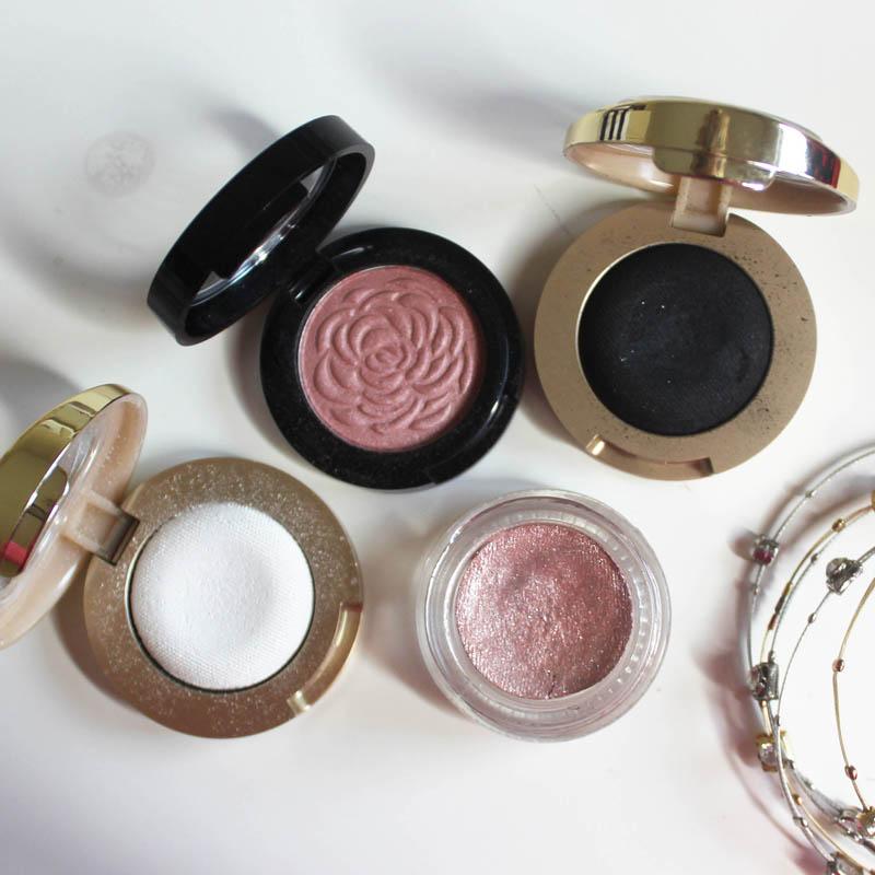 eye look using drugstore and designer makeup