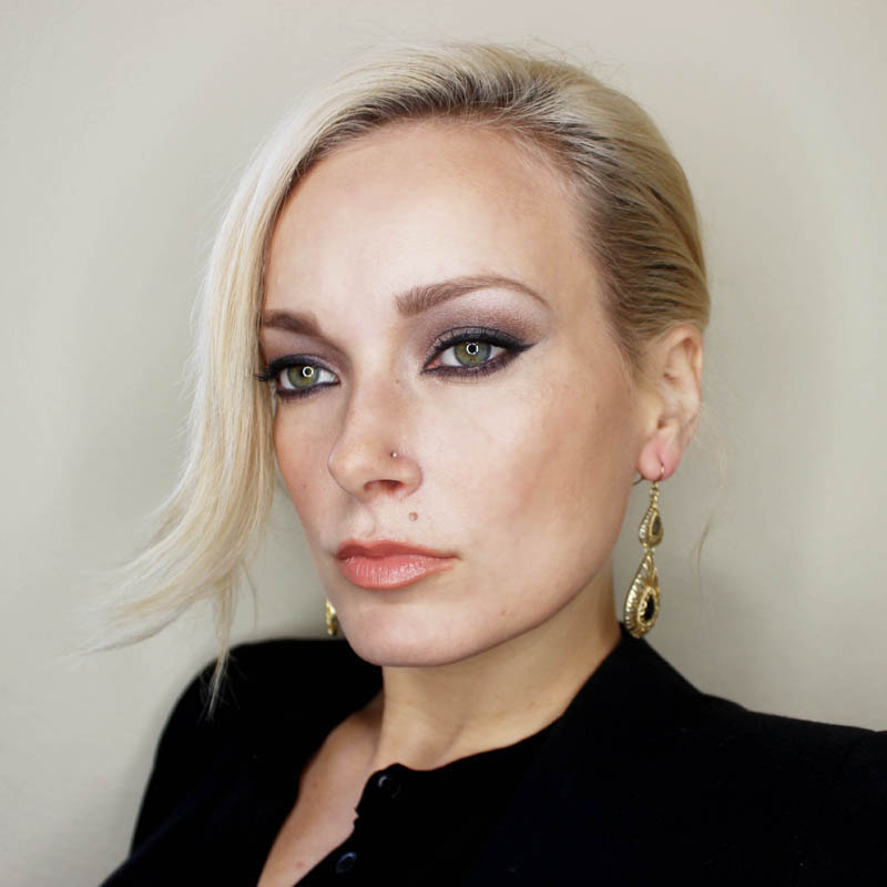 drugstore and designer makeup look