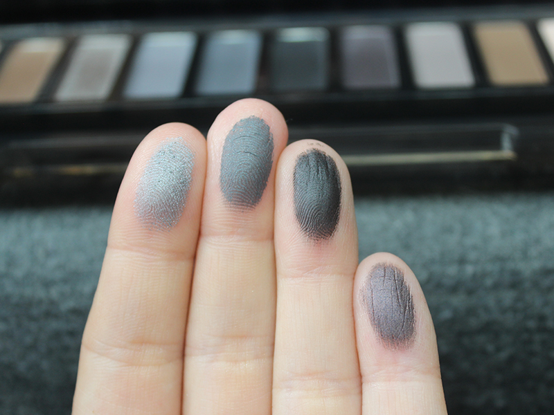 Urban Decay Naked Smoky Swatches Slanted, Dagger, Black Market, Smoldering