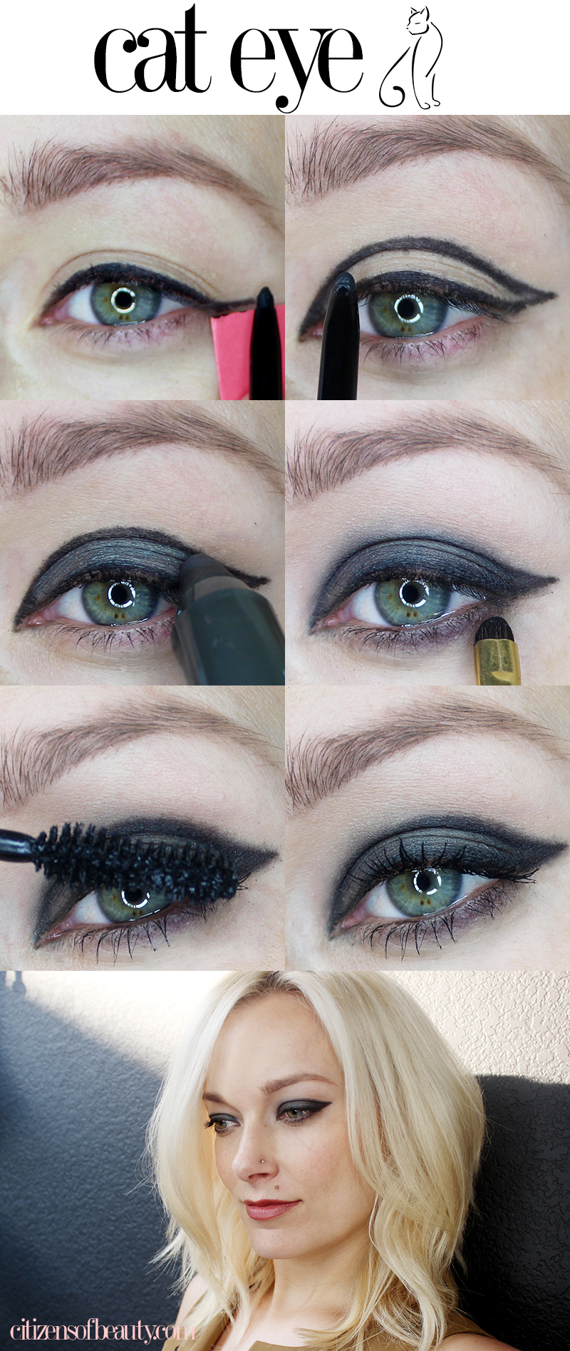 Get catty with me black and grey cat eye tutorial citizens of beauty baditri Image collections