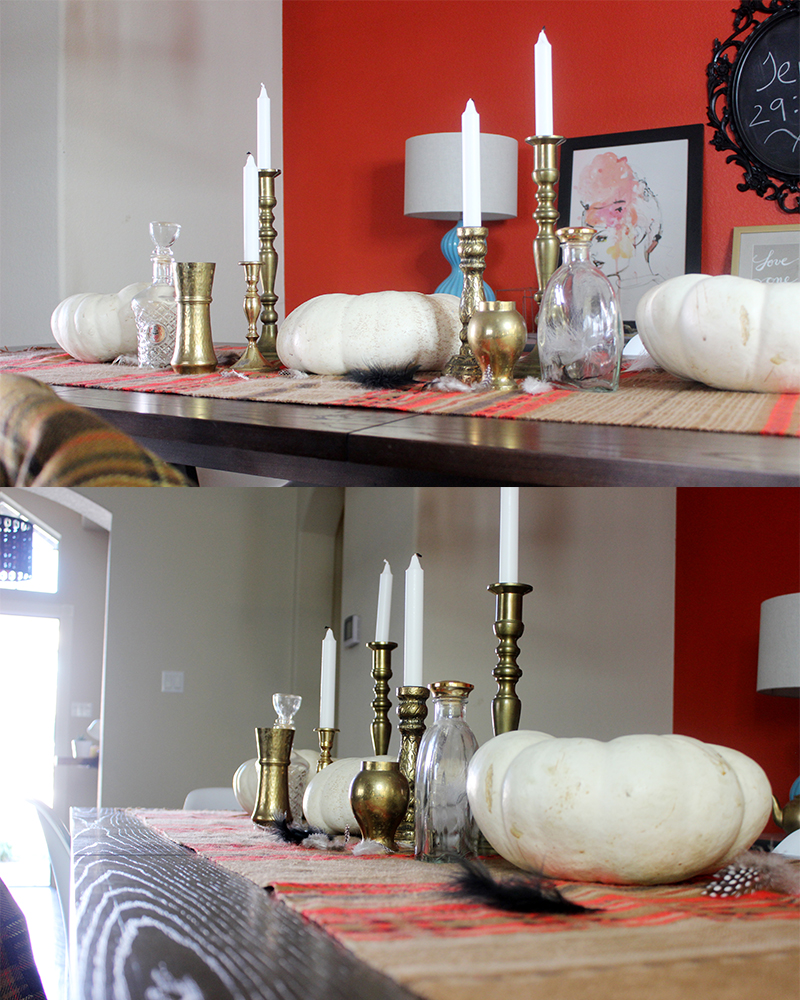 Fall tablescape tribal and mid century inspired