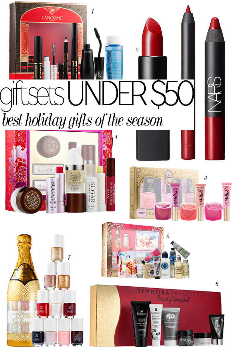 Get the best holiday beauty gift sets for under $50.00 at Sephora and Nordstroms! Beauty Sets from Bite Beauity, L'Occitane, NARS.