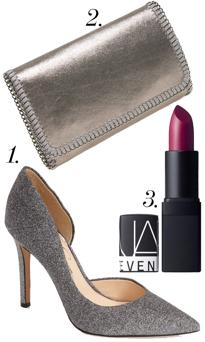 "Jessica Simpson ""Claudette"" pump in Alloy Fabric on sale for $47.37  +  Phase 3 ""Metallic Chain"" Foldover Clutch $28.80 + NARS Fantascene' Killer Shine Lipstick (Limited Edition)  for $29! Great #style and #beauty trio for $105.17!"