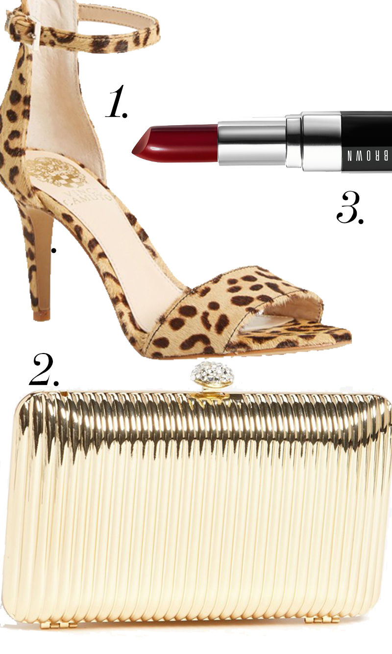 "Vince Camuto ""Court"" Calf Hair Ankle Strap $97.95        + Glint Linear Ridge Clutch $58 + Bobbi Brown Lipstick in Vixen Red for $27.00 at Nordstroms! Everything for"