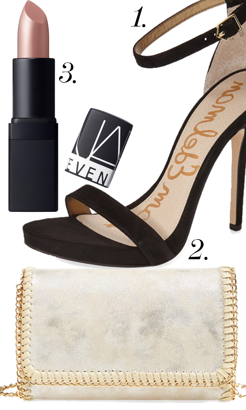 "Sam Edelman ""Eleanor""Ankle Strap Sandal on sale for $73.90 +  Chelsea28 Mini Faux Leather Clutch in Gold $48 + NARS Fantascene' Killer Shine Lipstick in Redemption (limited edition) for $29.00!"