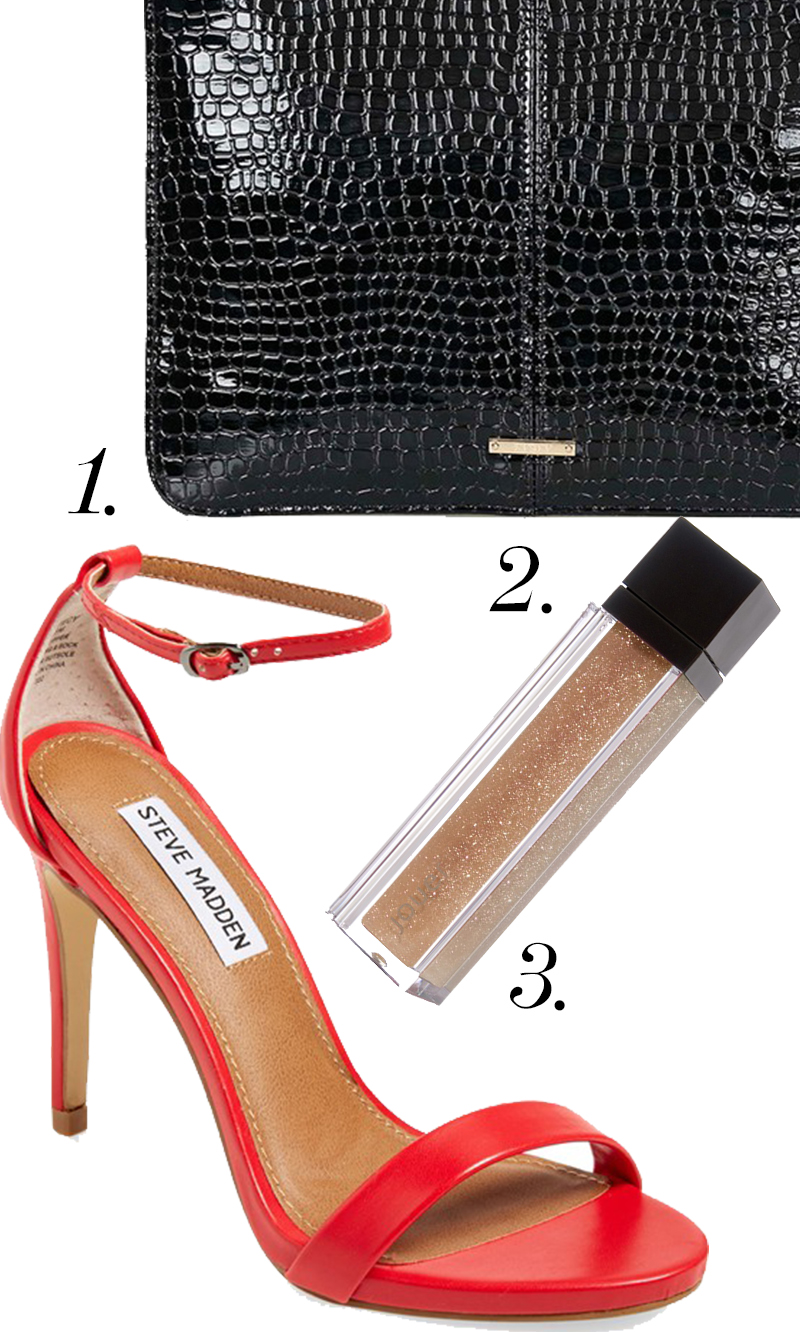 "Steve Madden ""Stecy"" Sandal in red for $79.95 + Topshop ""Castle"" Croc Embossed Clutch for $40 + Jour Moisturizing Lipgloss in Nude Glisten $22.00. Get this #beauty and #style holiday trio for only $141.95 at Nordstroms!"