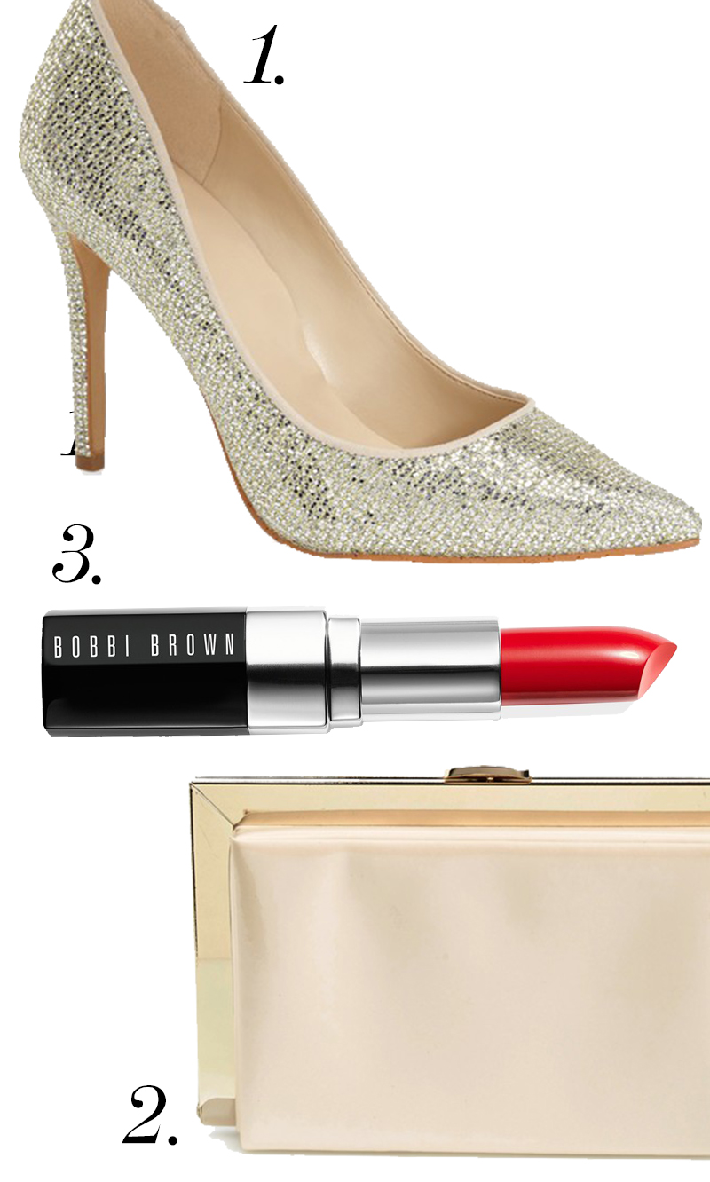 "Nine West ""Frolic"" Pump On Sale right now for $49.90 + Natasha Couture Patent Framed Box Clutch for $48.00 + Limited Edition Bobbi Brown Lipstick in Lady Ruba for $27.00. Get this #holiday #style and #beauty trio for only"