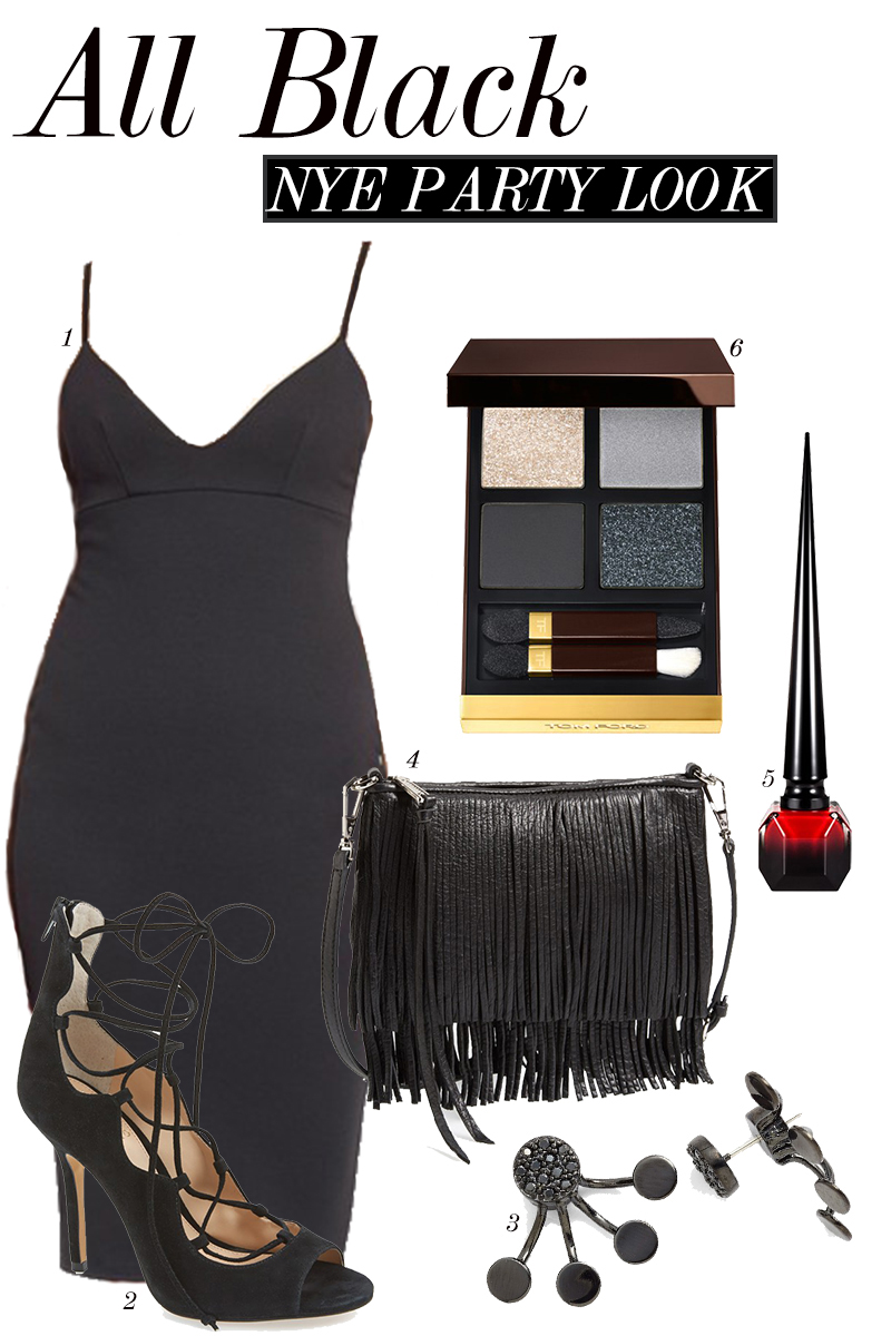 black dress, shoes, and accessories for NYE party look