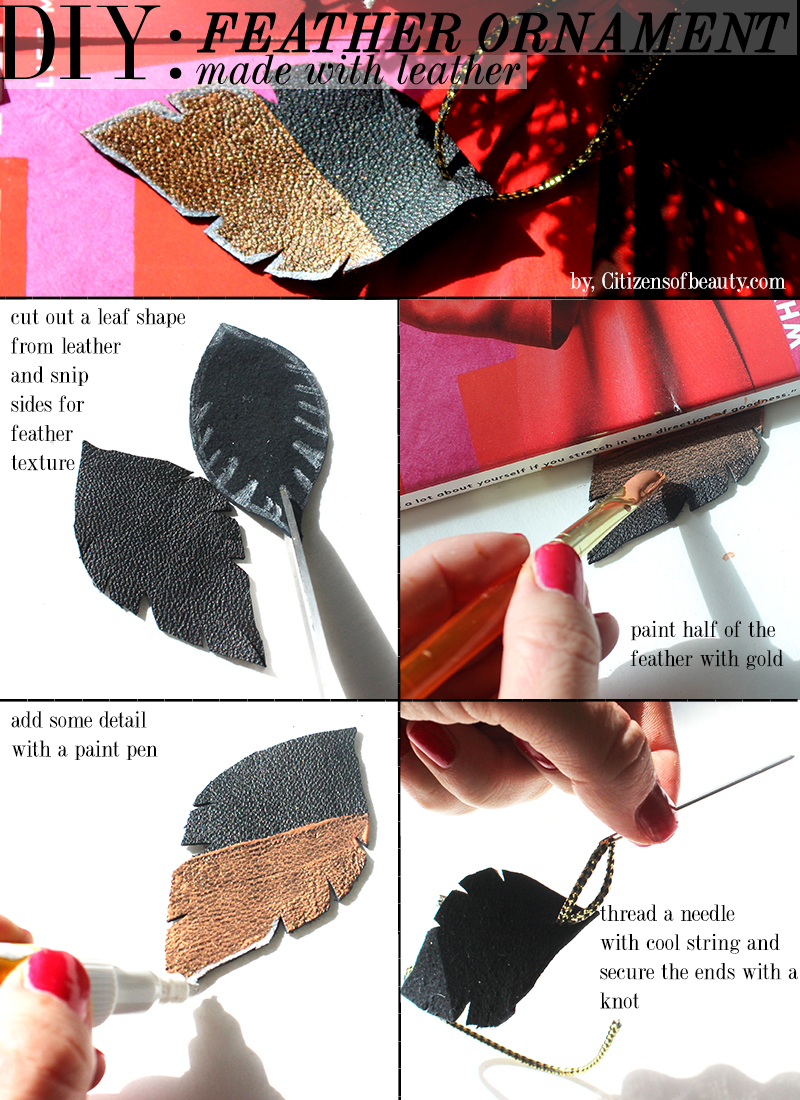 DIY Gold Leather Feather ornament that is so easy to make
