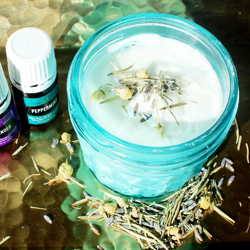 DIY whipped shea butter body scrub with peppermint and lavender essential oils from young living