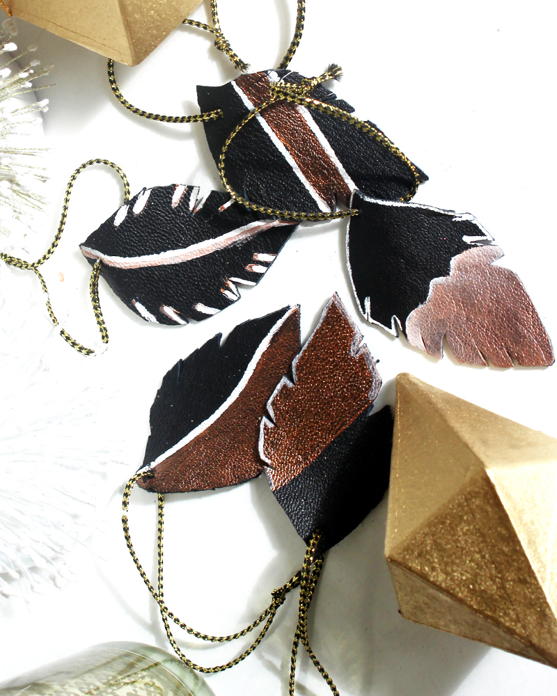 How to make leather ornaments that look like feathers
