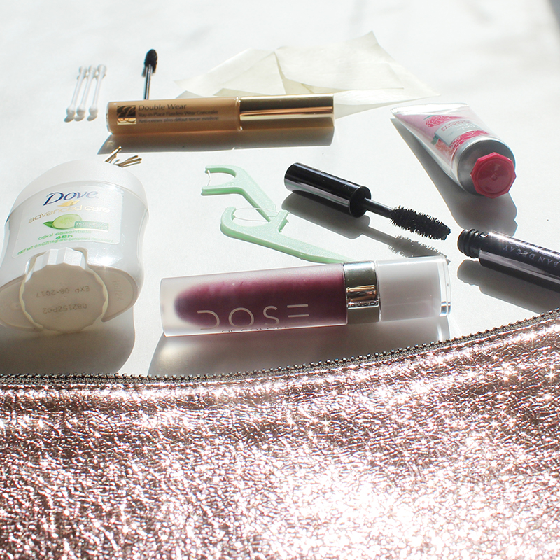 beauty survival kit for makeup emergencies at your holiday party